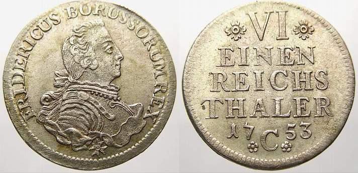 1/6 Taler 1753 C Brandenburg-Preußen Friedrich II. 1740-1786. Selten. Vorzüglich mit Prägeglanz