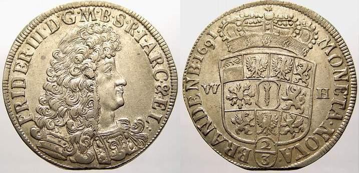 2/3 Taler 1691 WH Brandenburg-Preußen Friedrich III. 1688-1701. Kl. Zainende. Vorzüglich mit Prägeglanz!