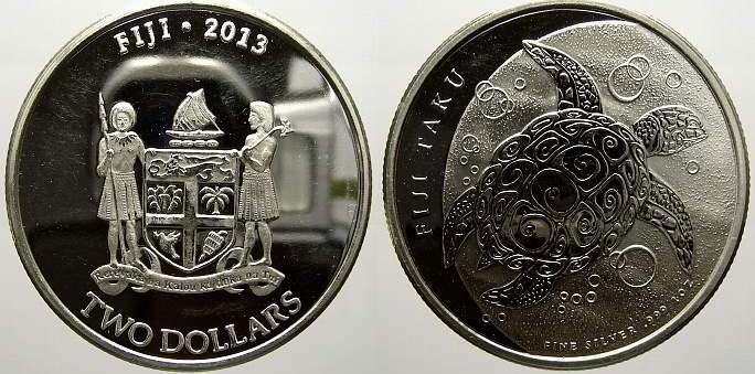 2 Dollars 2013 Fidschi Elizabeth II. seit 1952. Min. berieben, Polierte Platte