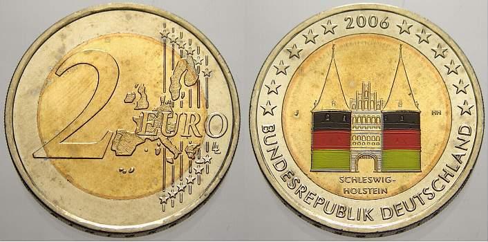 2 Euro Farbe Coloriert 2006 J Deutschland Unzirkuliert Ma Shops
