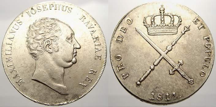 Kronentaler 1814 Bayern Maximilian I. Joseph 1806-1825. Winz. Randfehler, vorzüglich+