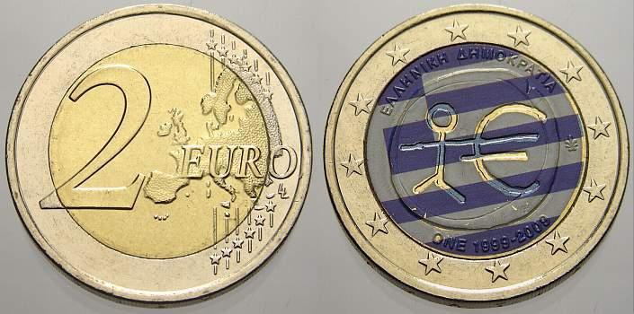 2 Euro (Farbe, coloriert) 2009 Griechenland unzirkuliert