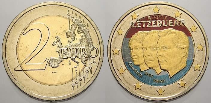 2 Euro Farbe Coloriert 2011 Luxemburg Unzirkuliert Ma Shops