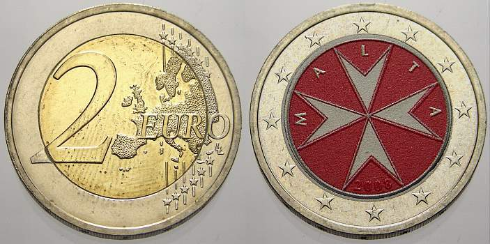 2 Euro (Farbe, coloriert) 2008 Malta unzirkuliert