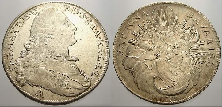 Madonnentaler 1773 A Bayern Maximilian III. Joseph 1745-1777. Min. justiert, vorzüglich-stempelglanz