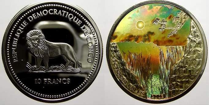 10 Francs (Kinegramm) 2003 Kongo Republik seit 1997. Polierte Platte