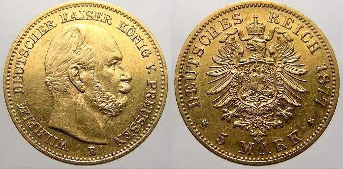 5 Mark (Gold) 1877 B Preußen Wilhelm I. 1861-1888. Fast vorzüglich-vorzüglich