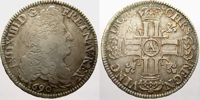 Demi-écu aux huit L, 1er type 1 1690 Frankreich Ludwig XIV. 1643-1715. Sehr schön