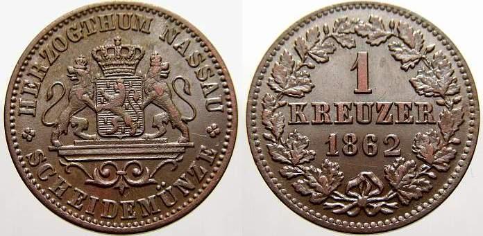 Cu 1 Kreuzer 1862 Nassau Adolph 1839-1866. Stempelglanz von EA!