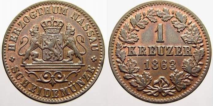 Cu 1 Kreuzer 1863 Nassau Adolph 1839-1866. Vorzüglich+