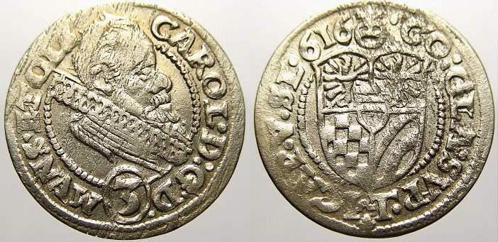 3 Kreuzer 1616 Schlesien-Münsterberg-Öls Karl II. 1587-1617. Sehr schön-vorzüglich