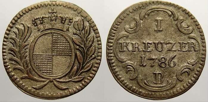 Kreuzer 1786 B Brandenburg-Ansbach Christian Friedrich Karl Alexander 1757-1791. Sehr schön+