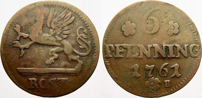 Cu 6 Pfennig 1761 Mecklenburg-Rostock, Stadt Selten. Übl. Prägeschwäche, sehr schön
