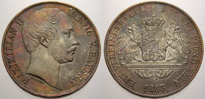 Vereinstaler 1863 Bayern Maximilian II. 1848-1864. Herrliche Patina, vorzüglich