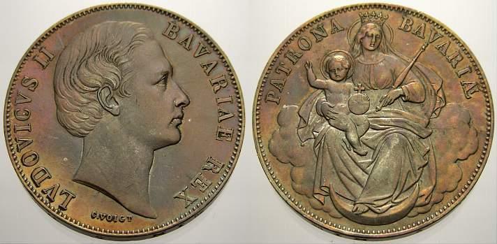 Madonnentaler 1864-1886 Bayern Ludwig II. 1864-1886. Herrliche Patina, vorzüglich