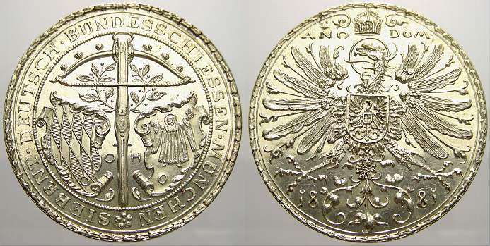 Silbermedaille 1881 Schützenmedaillen München Fast stempelglanz von Polierte Platte