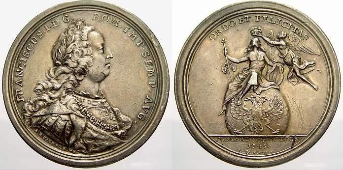 Silbermedaille 1745 Haus Habsburg Franz I. 1745-1765. Winz. Kratzer. Fast vorzüglich mit schöner Patina