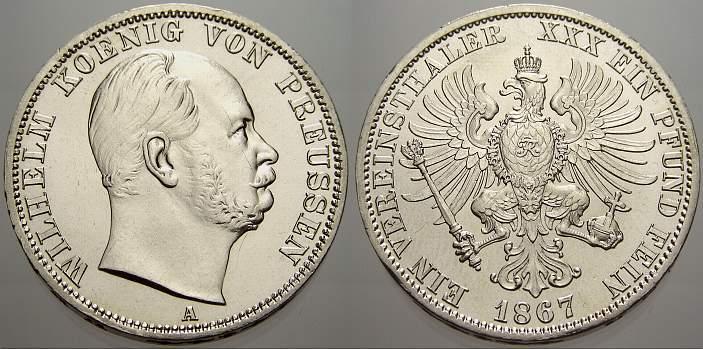Taler 1867 A Brandenburg-Preußen Wilhelm I. 1861-1888. Fast stempelglanz