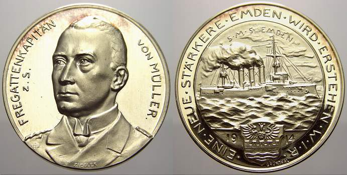 Silbermedaille 1914 Erster Weltkrieg Militärische Ereignisse Polierte Platte