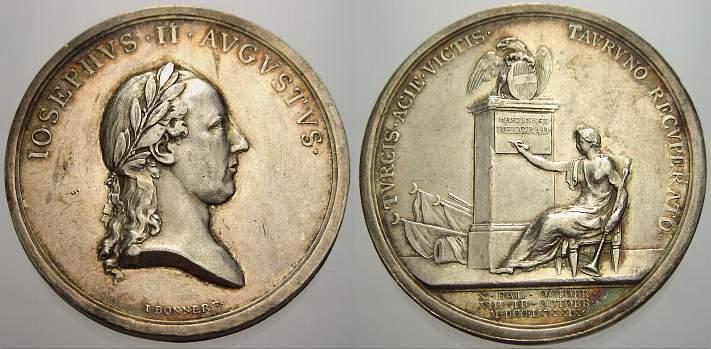 Silbermedaille 1789 Haus Habsburg Josef II. 1780-1790. Sehr schön