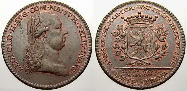 Bronzemedaille 1791 Haus Habsburg Leopold II. 1790-1792. Vorzüglich+