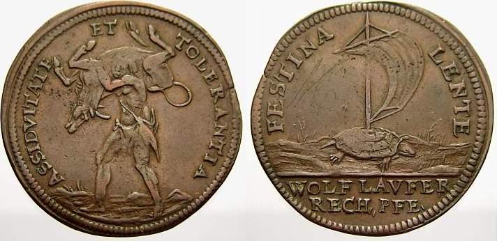 Cu Rechenpfennig 1618-1660 Nürnberg-Rechenpfennige Wolf Laufer 1618-1660. Sehr schön+
