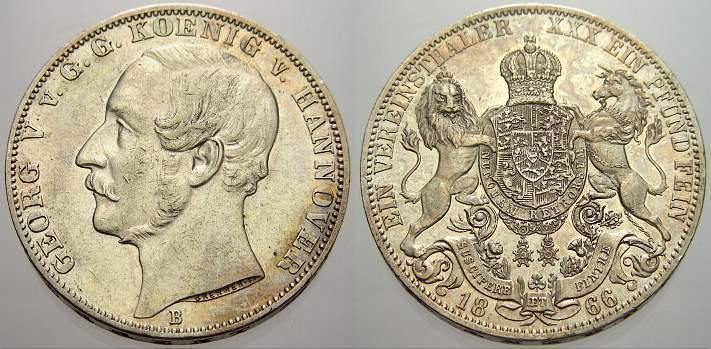 Vereinstaler 1866 B Braunschweig-Calenberg-Hannover Georg V. 1851-1866. Kl. Kratzer, fast vorzüglich von EA.
