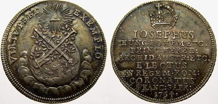 Krönungsjeton (Silberabschlag des Doppeldukaten) 1 1764 Haus Habsburg Josef II. 1780-1790. Vorzüglich-stempelglanz mit schöner Patina