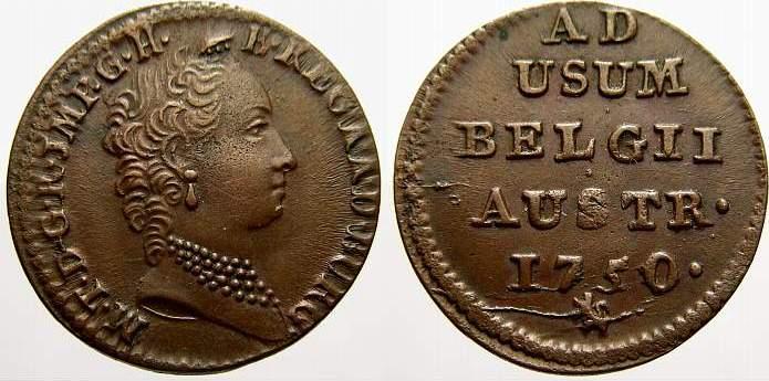 Cu Liard 1750 Haus Habsburg Maria Theresia 1740-1780. Vorzüglich