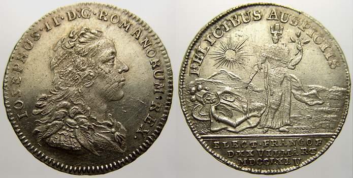 Krönungsjeton 1 1764 Haus Habsburg Josef II. 1780-1790. Leicht justiert. Vorzüglich