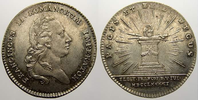 Silberabschlag des Dukaten 1792 Haus Habsburg Franz II. (I.) 1792-1835. Einzige justierung. Stempelglanz