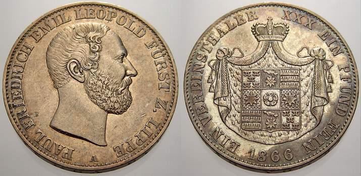 Vereinstaler 1866 A Lippe-Detmold Paul Friedrich Emil Leopold 1851-1875. Winz. Randfehler, fast vorzüglich