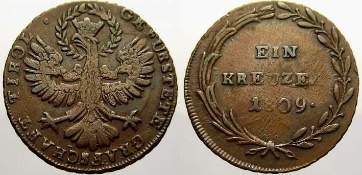 Cu Kreuzer 1809 Haus Habsburg Franz II. (I.) 1792-1835. Übl. Schrötlingsfehler, sehr schön+ mit schöner Patina