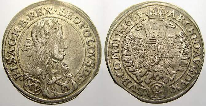 15 Kreuzer 1661 CA Haus Habsburg Leopold I. 1658-1705. Sehr schön