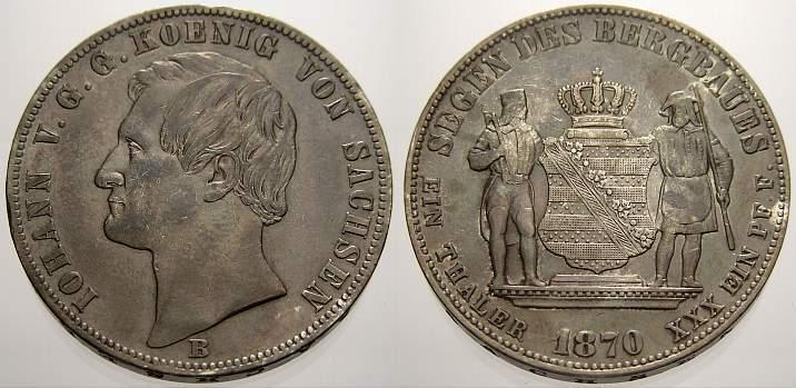 Ausbeutetaler 1870 B Sachsen-Albertinische Linie Johann 1854-1873. Schöne Patina, sehr schön-vorzüglich