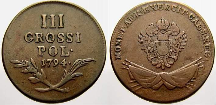 Cu 3 Groschen 1794 F Polen Österreichische Prägungen für Galizien 1772-1795. Überdurchschnittlich erhalten, sehr schön+