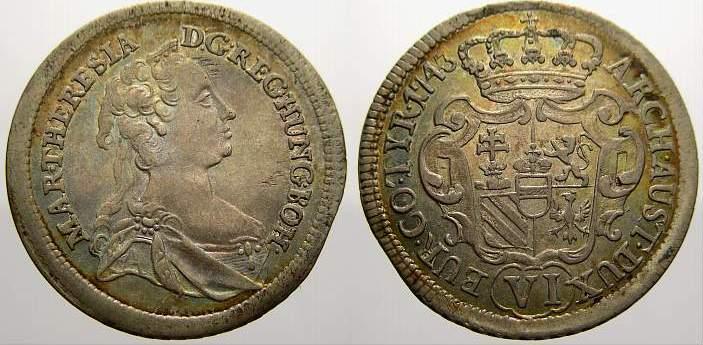 6 Kreuzer 1743 Haus Habsburg Maria Theresia 1740-1780. Vorzüglich+ mit schöner Patina