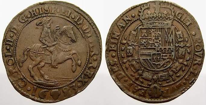 Cu Rechenpfennig 1683 Belgien-Brabant Karl II. 1665-1700. Sehr schön+