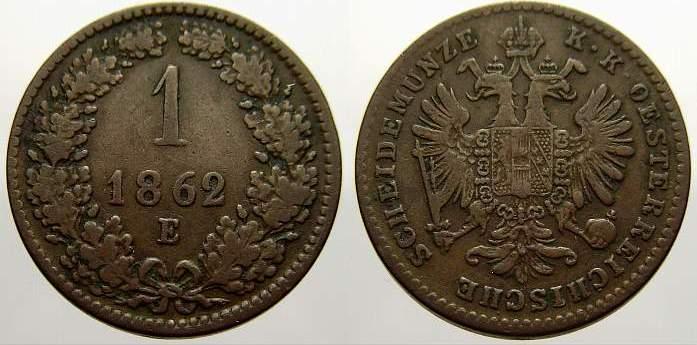 Cu 1 Kreuzer 1862 E Haus Habsburg Franz Joseph I. 1848-1916. Selten. Fast vorzüglich