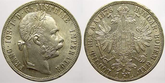 Florin (Gulden) 1878 Haus Habsburg Franz Joseph I. 1848-1916. Fast stempelglanz