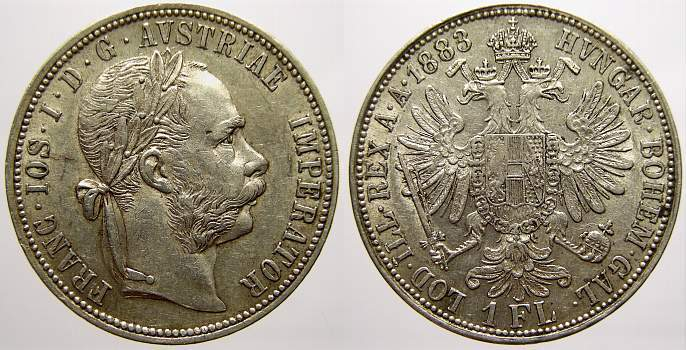Florin (Gulden) 1883 Haus Habsburg Franz Joseph I. 1848-1916. Vorzüglich