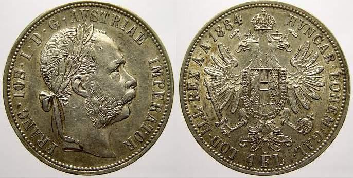 Florin (Gulden) 1884 Haus Habsburg Franz Joseph I. 1848-1916. Kl. Randfehler. Vorzüglich