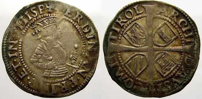 6 Kreuzer Haus Habsburg Ferdinand I. 1522-1558-1564. Min. Prägeschwäche. Sehr schön-vorzüglich mit schöner Patina