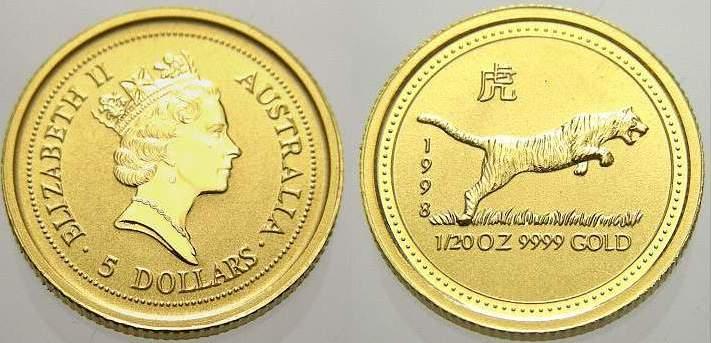 5 Dollars (Lunar, Tiger) 1998 K Australien Elizabeth II. seit 1952. Polierte Platte