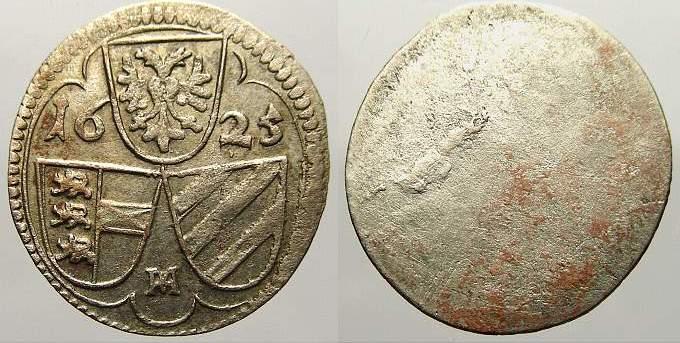 Einseitiger 2 Pfennig 1625 Haus Habsburg Ferdinand II. 1619-1637. Selten. Vorzüglich mit Prägeglanz