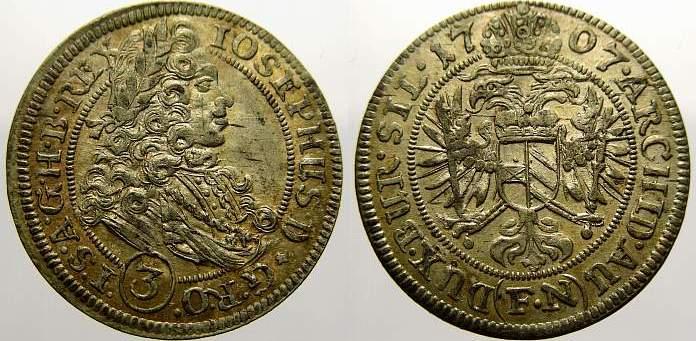 3 Kreuzer (Groschen) 1707 FN Schlesien-Der oberste Lehnsherr Joseph 1705-1711. Selten, besonders in dieser Erhaltung. Stempelglanz mit schöner Patina