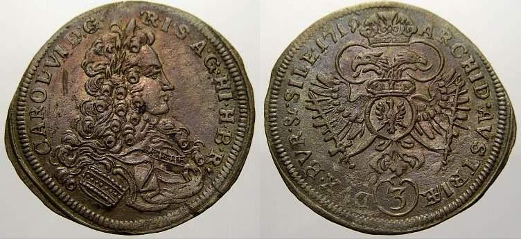 3 Kreuzer 1719 Schlesien-Der oberste Lehnsherr Carl VI. 1711-1740. Winz. Kratzer, vorzüglich mit schöner Patina