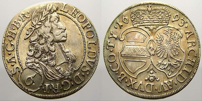 6 Kreuzer 1693 Haus Habsburg Leopold I. 1658-1705. Selten. Vorzüglich-vorzüglich+