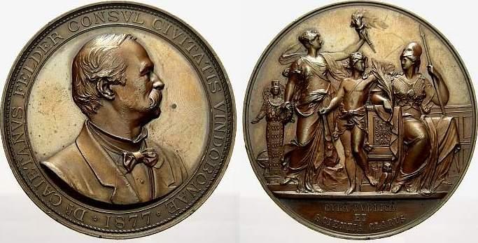 Bronzemedaille 1877 Wien, Stadt Winz. Randfehler. Vorzüglich