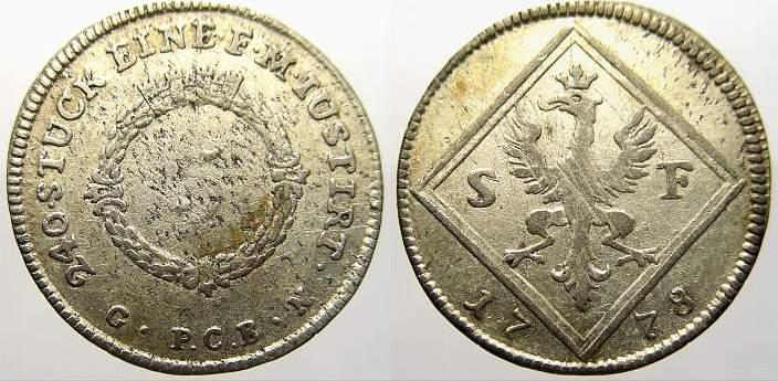 5 Kreuzer 1778 S Frankfurt, Stadt Kl. Prägeschwäche, sehr schön